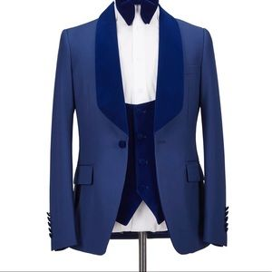 Men 3 Piece Blue Tuxedo